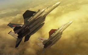 Картинка облака, полет, самолет, истребители, zero the belkan war, ace combat