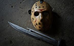 Обои Джейсон, Пятница 13, маска, нож, Jason