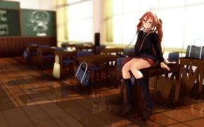 Картинка школа, rongsama, парты, сидя, класс, форма, девушка, очки, vocaloid