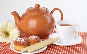 Картинка цветок, чай, чайник, чашка, трубочки, кексы