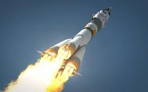 Картинка небо, пламя, Ракета, Россия, космодром, взлёт, двигатели, СОЮЗ, ТМА