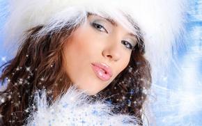 Картинка зима, глаза, праздник, снегурочка