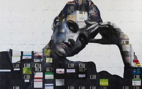 Картинка девушка, стиль, портрет, арт, дискеты, флоппи-арт, Nick Gentry, Ник Гентри, floppy-art