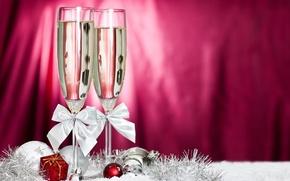 Картинка шарики, Новый Год, бокалы, бантики, шампанское