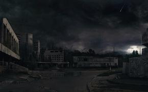 Картинка ночь, разрушения, 157, чернобыль