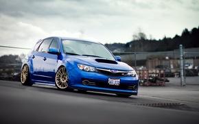 Картинка Subaru, Impreza, синяя, blue, субару, импреза, крышка люка, STi
