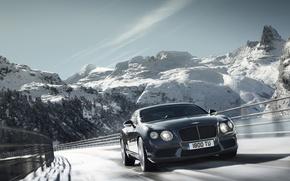 Картинка snow, горы, дорога, trees, car, машина, sky, снег, скорость, 2012 Bentley Continental GT V8, 2695x2000, ...
