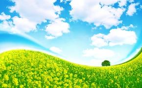 Обои дерево, изгиб, небо, трава, облака