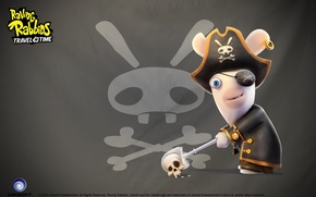 Картинка череп, кролик, пират, повязка на глаз, Raving Rabbids Travel in Time