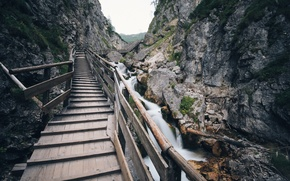 Картинка rock, bridge, water, Europe, mountain, Austria, long exposure, Silberkarklamm