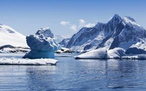 Картинка море, небо, снег, горы, скалы, побережье, сосульки, льдины, глыбы