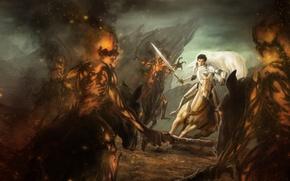Обои демоны, конь, арт, парень, всадник, меч, в белом, огонь