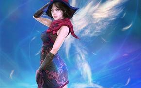Картинка небо, девушка, облака, крылья, шляпка
