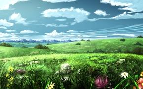 Картинка небо, пейзаж, цветы, луг, арт, живопись, soyokaze