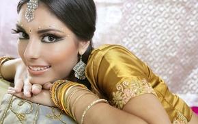 Картинка девушка, woman, asian, индианка, native dress, indian brunette