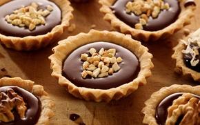 Картинка шоколад, орехи, пирожные, тарталетки
