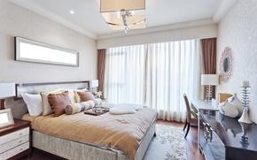 Картинка кровать, интерьер, подушки, спальня
