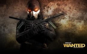 Картинка gun, Assassin, man, Weapon, Wanted Weapons of Fate, Mask, Game Wallpaper, Belt, Glove, Overcoast