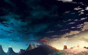 Картинка небо, звезды, облака, закат, меч, аниме, арт, плащ, tengen toppa gurren lagann