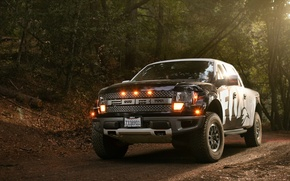 Картинка лес, листья, огни, Ford, Raptor, F-150