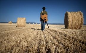 Картинка поле, музыка, человек, гитара