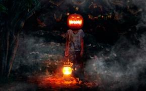 Картинка мальчик, тыква, летучие мыши, ужастик, Happy Halloween