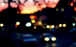 Картинка car, машина, макро, город, огни, фон, widescreen, обои, улица, размытие, вечер, размытость, wallpaper, широкоформатные, background, …