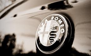 Картинка макро, знак, Alfa Romeo