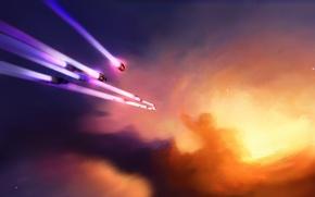 Обои флот, корабли, арт, свечение, космос, звезды, туманность, Homeworld