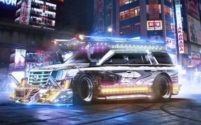 Обои Cadillac, Escalade, Tuning, Future, SUV, Chrome, by Khyzyl Saleem