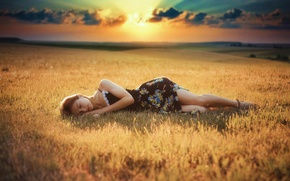 Картинка поле, девушка, сон, платье