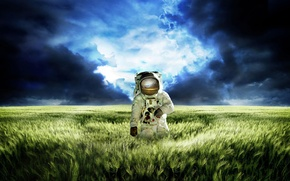 Картинка трава, космос, космонафт