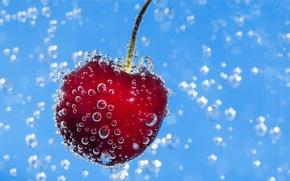 Обои пузырьки, вишня, жидкость, ягода, черешня