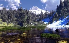 Обои трава, вода, облака, снег, горы, природа, озеро, камни, арт