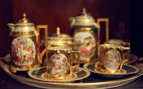 Картинка люди, рисунок, чайник, чашки, кружки, сервиз, чайный