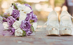 Картинка Цветы, букет, кольца, туфли, свадьба