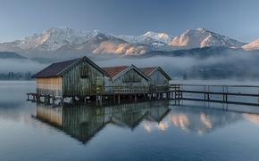 Картинка небо, горы, озеро, утро, Германия, Бавария, лодочные домики