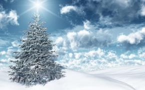 Картинка небо, солнце, снег, ёлочка