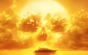 Картинка skull, horror, zombie, sky, sea, yellow, sunset, dead, cloud, series, fear, evil, yacht, season, The …