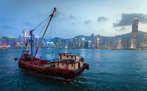 Картинка город, корабль, Hong Kong Bay