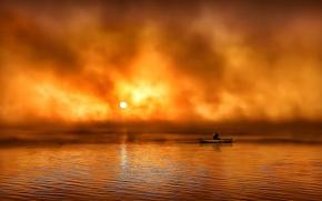Картинка волны, солнце, восход, каноэ в тумане