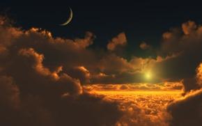 Обои луна, солнце, Облака