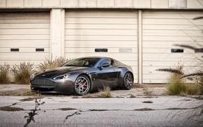 Картинка чёрный, Aston Martin, Vantage, астон мартин, black, передняя часть