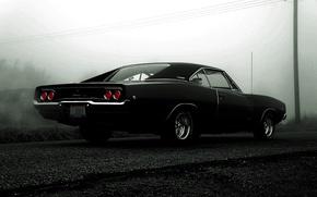 Картинка чёрный, black, dodge, charger, r/t, 1968, додж чарджер, мускур кар