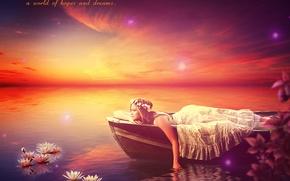 Картинка вода, девушка, цветы, лодка, EsotericIllusion