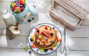Обои ягоды, завтрак, молоко, блины, выпечка, berries, breakfast, milk, pancakes
