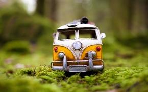 Картинка зелень, авто, лес, трава, макро, модель, игрушка, мох, съемка, машинка, toy, photo, photographer, в траве, …