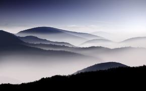 Обои туман, утро, небо, горы