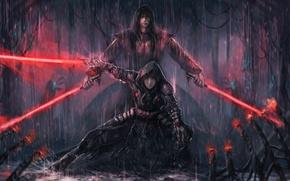 Обои The Sith Lords, дождь, световой меч, парень, арт, девушка, star wars