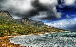 Горы камни море шторм волны hdr обои